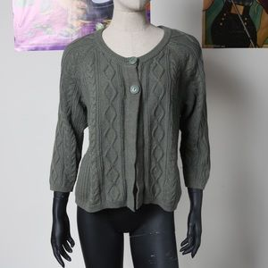 Green cable knit chunky cardigan with buttons